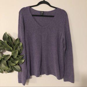 Eileen Fisher purple scoop neck knit sweater sz L